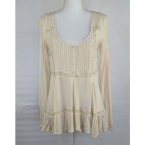 Free People Cream and Lace Tunic